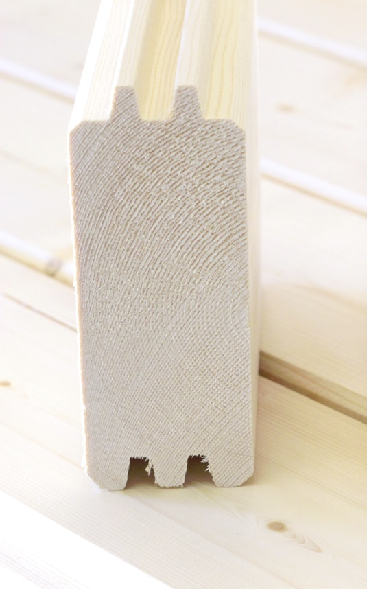 58 mm hirsiprofiili, kuva hirren päädystä