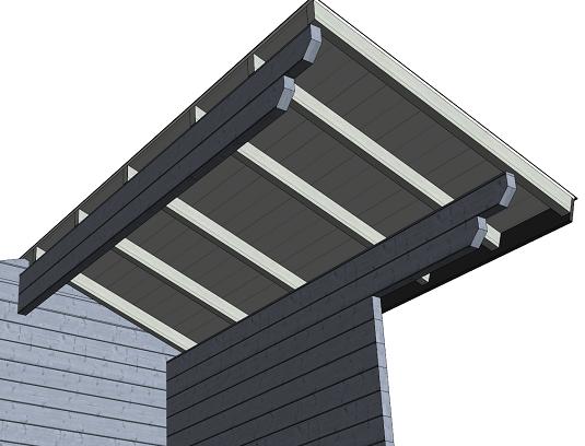 Hirsimökin katon rakenne ponttilaudoilla