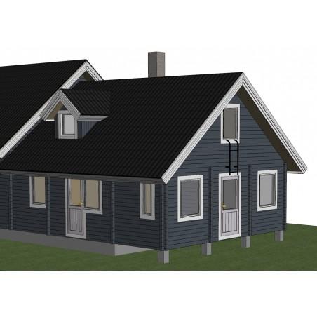 Hirsirakennuksen laajennus - Laajennus mallinnettuna 3D-kuvana