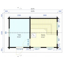 Sauna Tuiske 92 mm (Yhden ulko-oven malli) - Pohjakuva