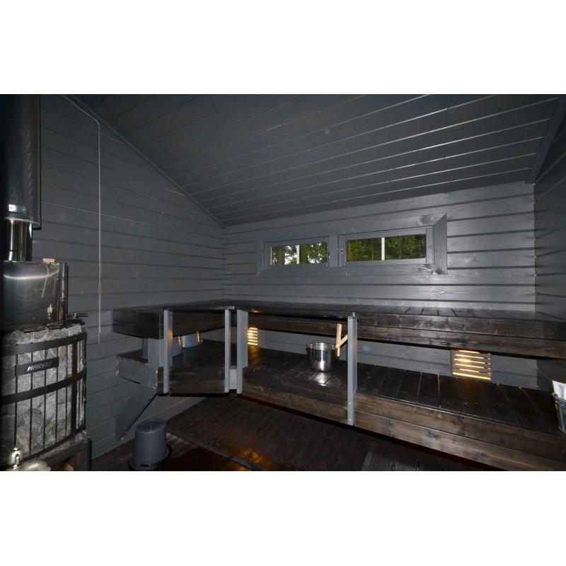 Sauna Sointu - Lauteet ovelta päin