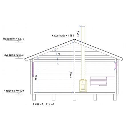 Sauna Sointu - Leikkauskuva