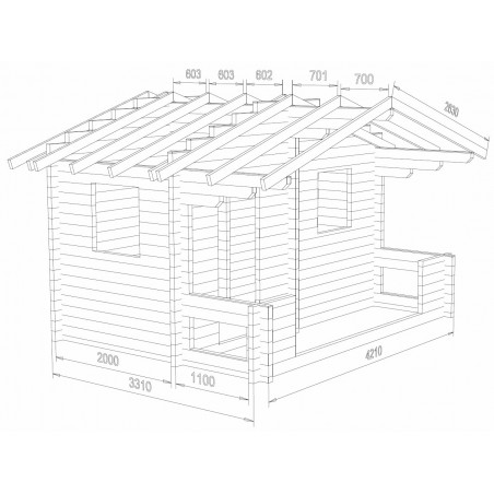 Hirsikehikko, sauna Rento, 70 mm