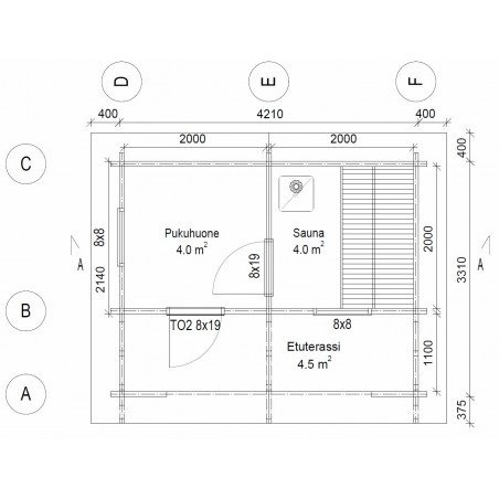 Hirsikehikko, sauna Rento, 70 mm - Pohjakuva