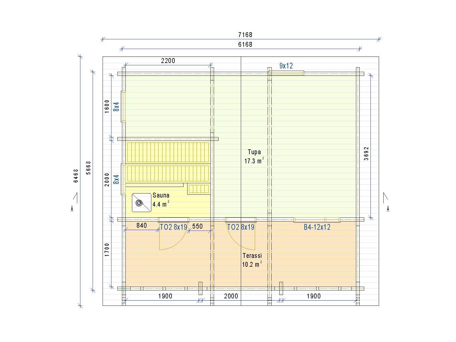 Saunamökki Tuohi - Pukuhuoneeton malli - Pohjakuva