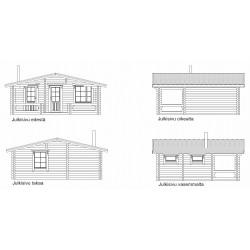 Saunamökki Tuohi - Pukuhuoneeton malli - Julkisivut