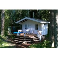 Sauna Rento Plus - kahden ulko-oven malli - Valokuva etuoikealta - 58 mm hirsivahvuus
