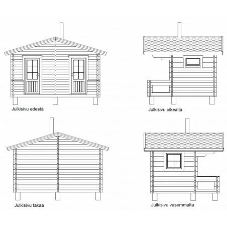 Sauna Rento Plus - kahden ulko-oven malli - Julkisivut - 58 mm hirsivahvuus