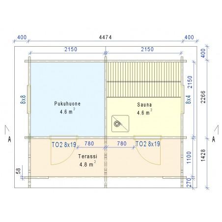 Sauna Rento Plus - kahden ulko-oven malli - Pohjakuva - 58 mm hirsivahvuus