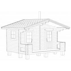 Sauna Rento Plus - kahden ulko-oven malli - Mallinnuskuva