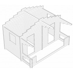 Sauna Rento Plus - kahden ulko-oven malli - Hirsikehikko 3D-kuvana