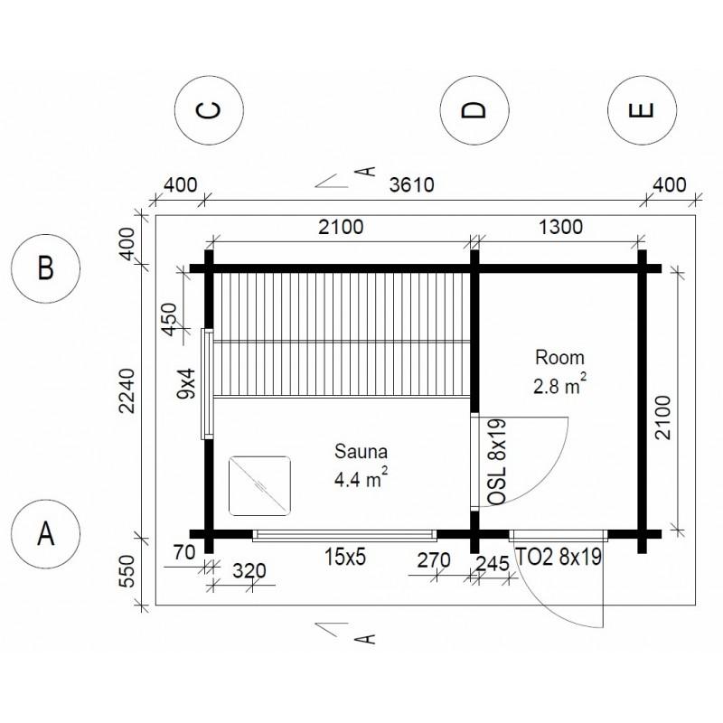Hirsikehikko, Sauna Loimu 70 mm - Pohjakuva
