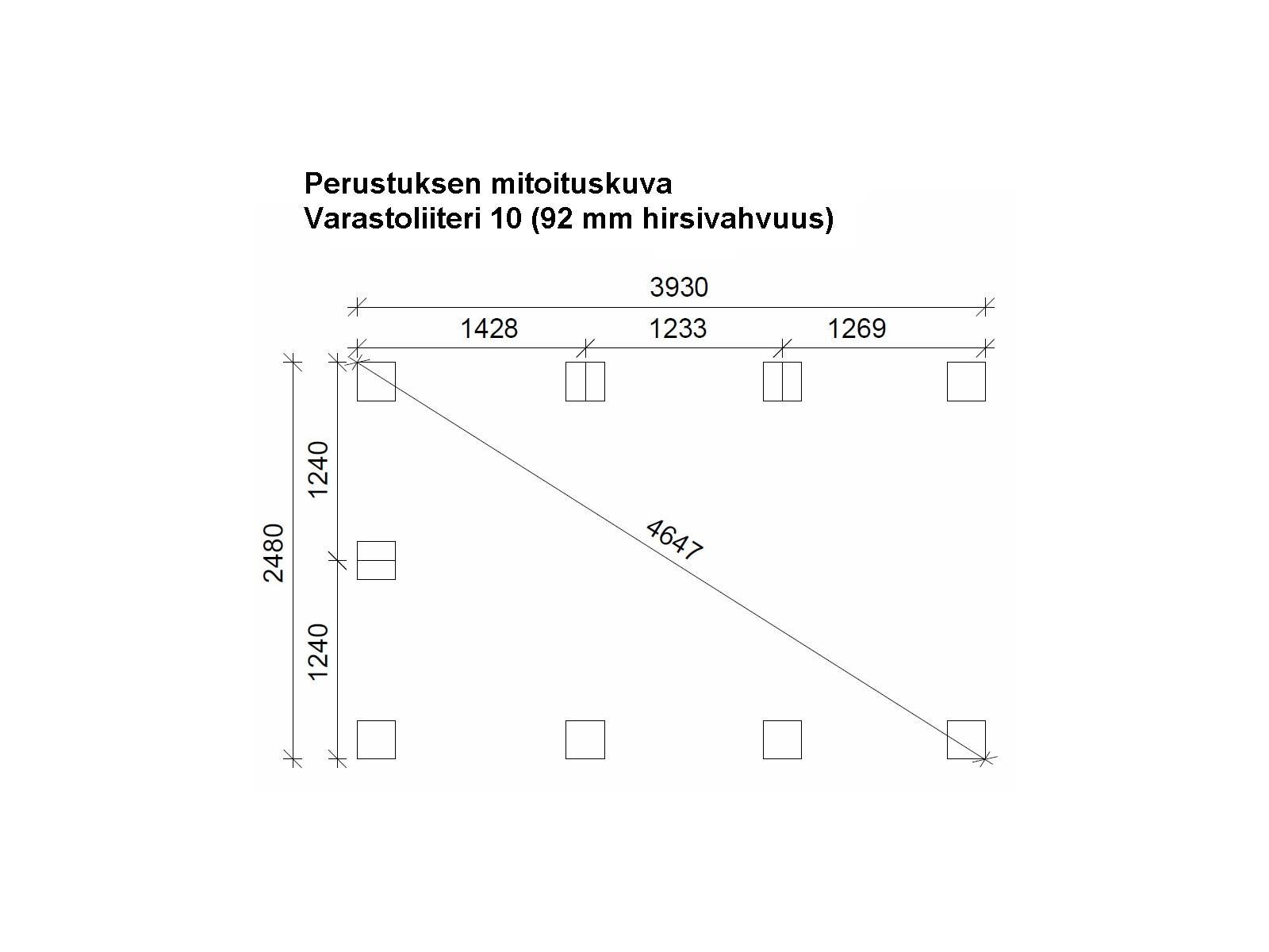 Varastoliiteri 10 - Perustuksen mitoituskuva