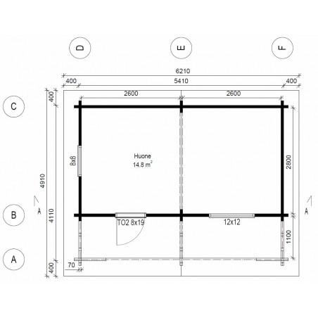 Vierasmökki Rento Max - Pohjakuva 70 mm seinävahvuudella