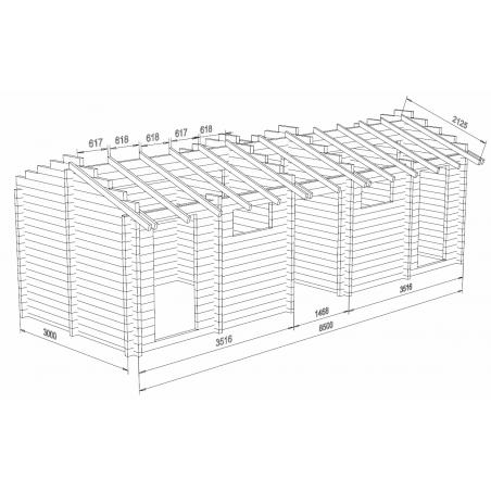 Tuplavarasto 20 - Hirsikehikon rautalankamalli