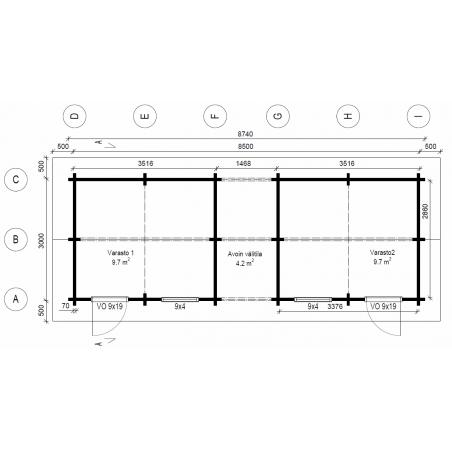 Tuplavarasto 20 - Pohjakuva 70 mm hirsivahvuudella