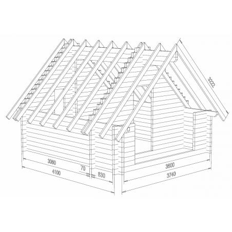 Kotamökki Sorsahaara - Hirsikehikon ja katon rungon 3D-malli
