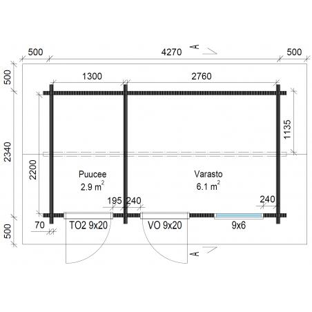 Varasto-Puucee Hippu 10 - Pohjakuva mittatiedoilla