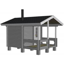Sauna Kurkilampi - mallinnuskuva etuvasemmalta