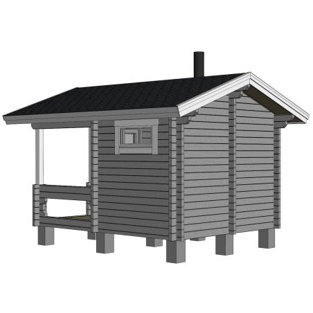 Sauna Kurkilampi - mallinnuskuva takaviistosta