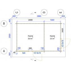 Kevytvarasto Lyhde - Pohjakuva 40 mm seinävahvuudella