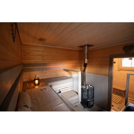 Löylykeidas - Laajennetun saunan malli - Saunanäkymää 70 mm hirsiversiosta