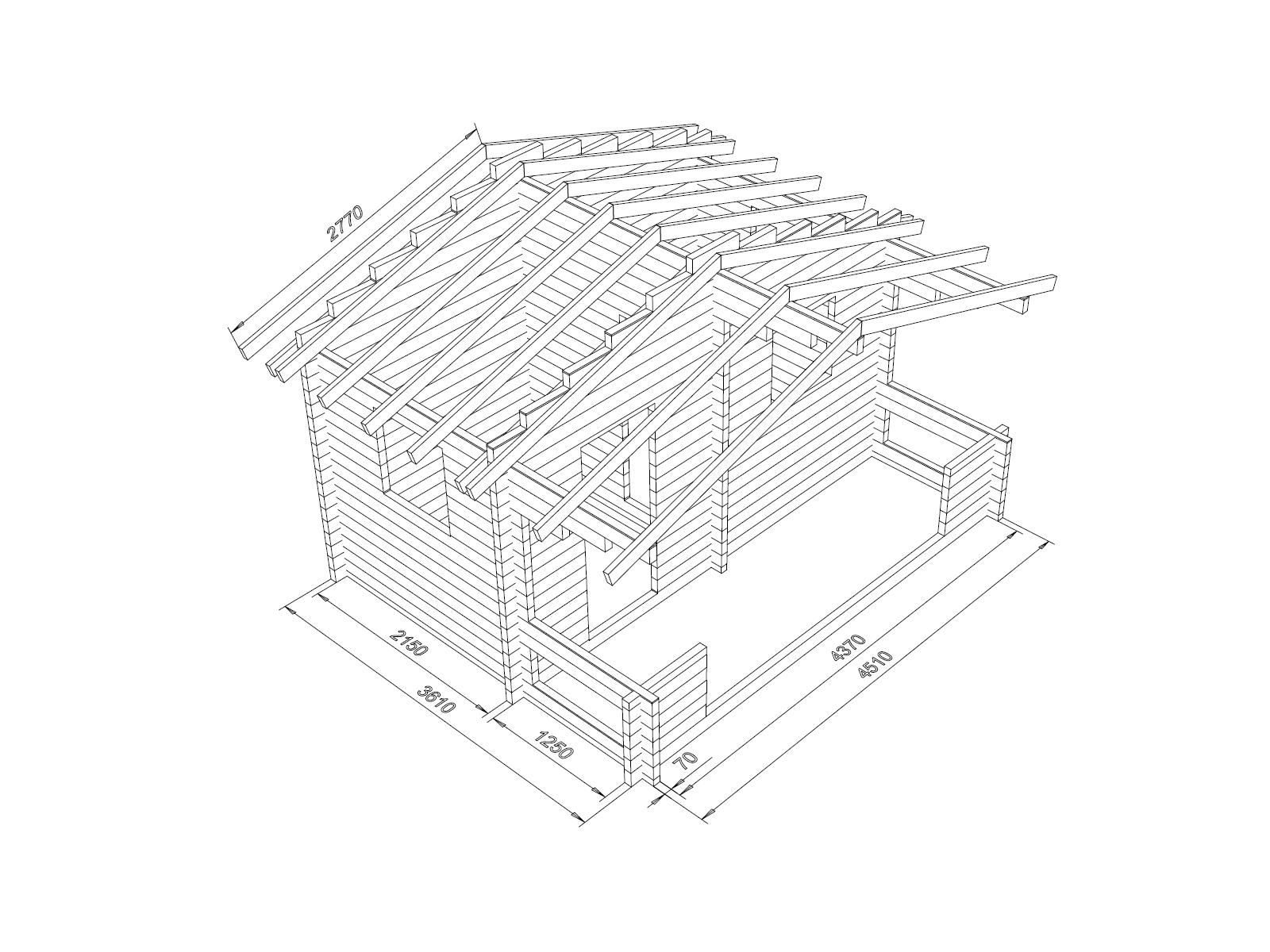 Hirsikehikko, sauna Rento Plus sivuikkunalla, 70 mm - Hirsikehikon rakennekuva kattoniskojen kanssa