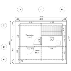 Hirsikehikko, sauna Rento Plus sivuikkunalla, 70 mm - Pohjakuva
