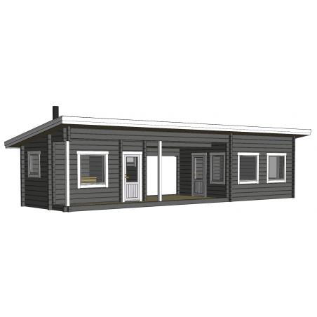 Sauna Kuikka 90x195 - Mallinnuskuva etuvasemmalta