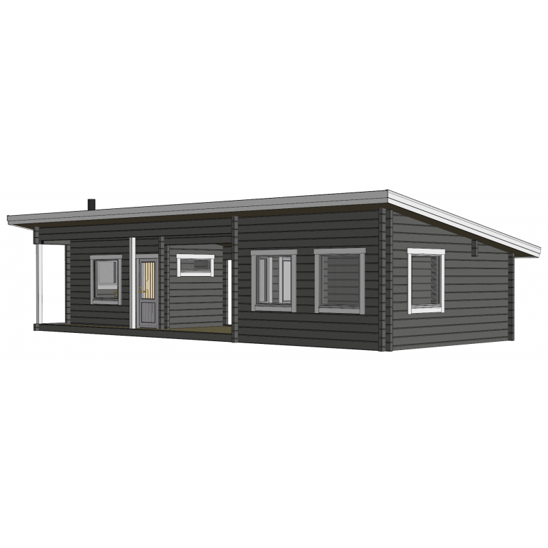 Sauna Kuikka 90x195 - Mallinnuskuva etuoikealta