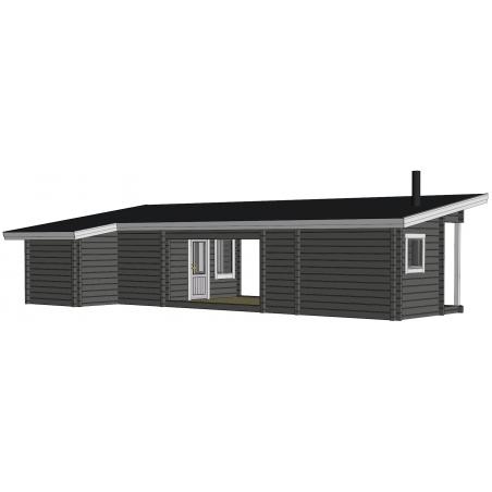 Sauna Kuikka 90x195 - Mallinnuskuva Takavasemmalta