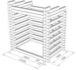 Puukatos Viima 19x13, 3D-mallinnuskuva
