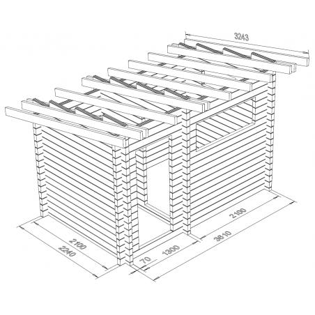 Sauna Loimu, toimitusvalmis hirsikehikko 70x145 - Mallinnuskuva
