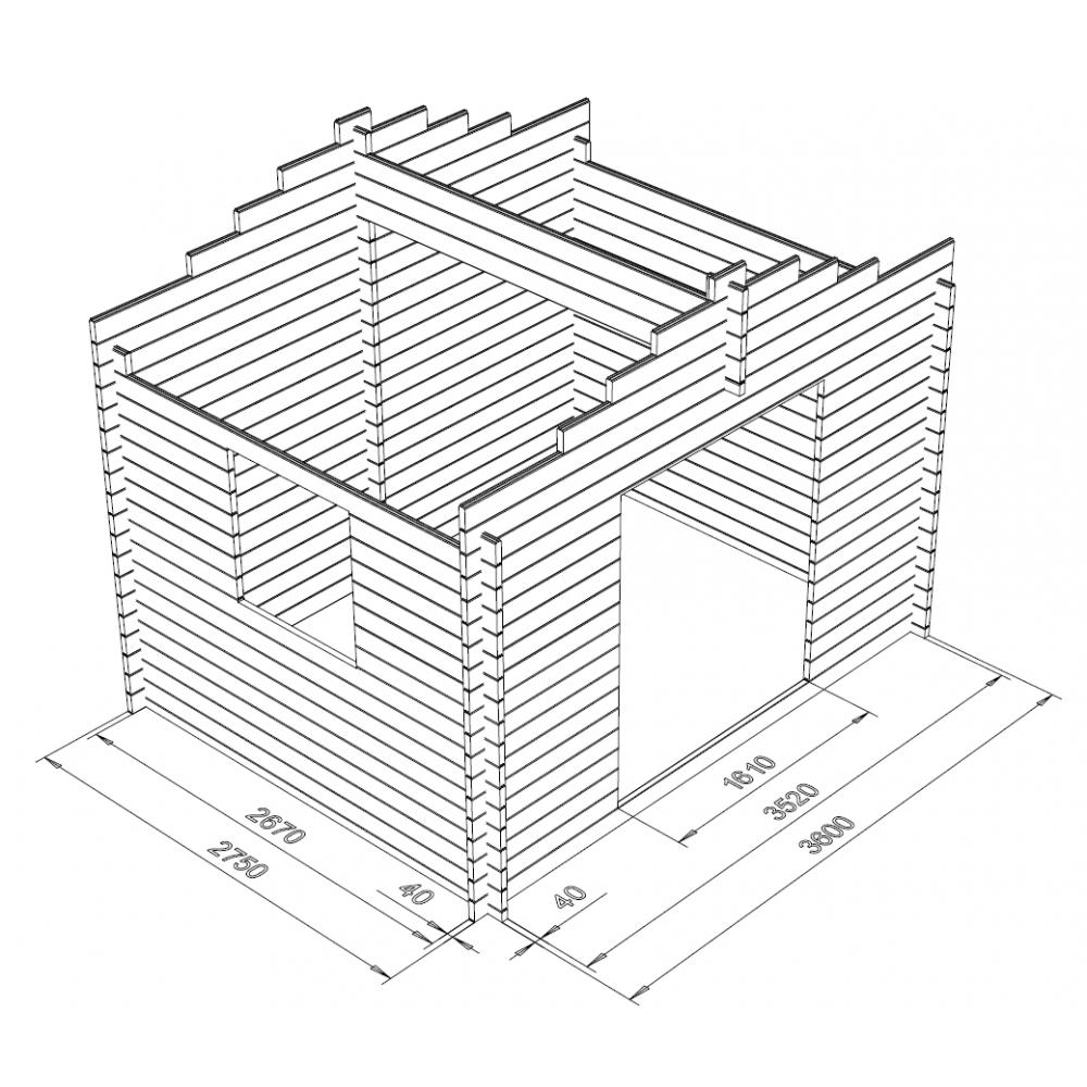 Hirsikehikko 40 mm, Vaja 9,9, heti toimitusvalmis - Kehikon 3D Mallinnus