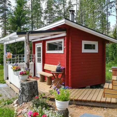 Hirsikehikko, Sauna Loimu 70 mm - Sauna asiakkaan pystyttämänä - Etuterassi asiakkaan oma toteutus