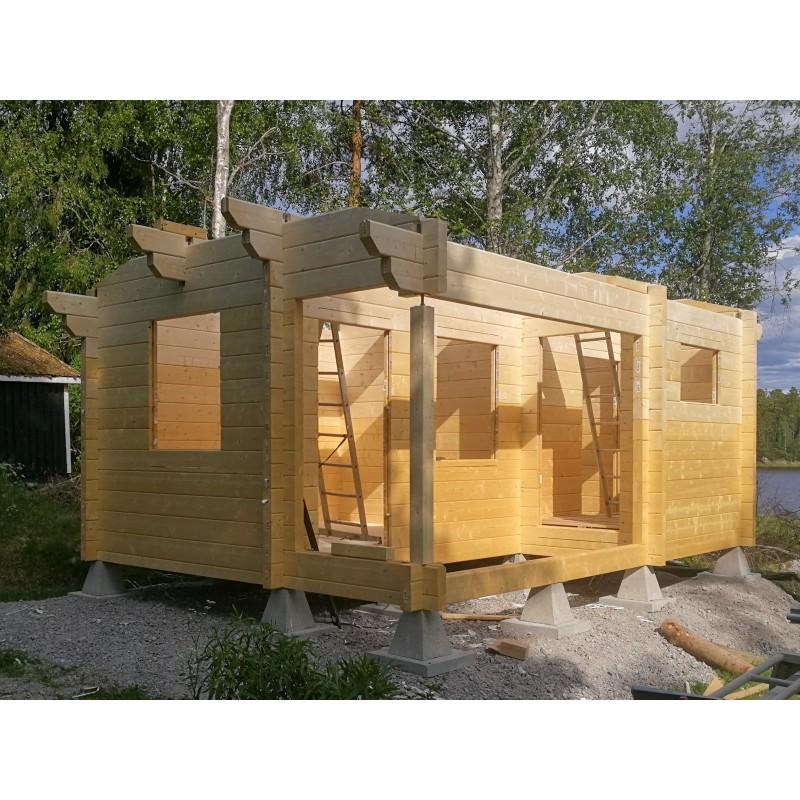 Hirsikehikko Sauna Siesta (90x195) - Hirsikehikon kasausvaihe