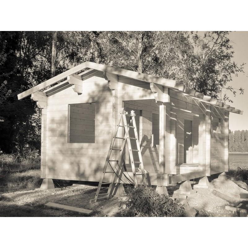 Hirsikehikko Sauna Siesta (90x195) - Hirsikehikon ja kattokannattimet kasattuna