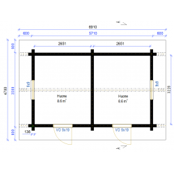 Harjavaara 20 - 136 mm lamellihirsi - Rakennuksen pohjakuva