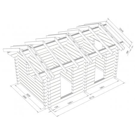Harjavaara 20 - 136 mm lamellihirsi - Hirsikehikko ja kattokannattimet mallinnettuina