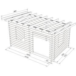 Kultatupa 12, 90 mm hirsikehikko - Hirsikehikko- ja kattokannattimet mallinnettuina