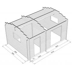 Hirsikehikko, Harjaheikki 19, 70 mm - Hirsikehikon 3D-kuva