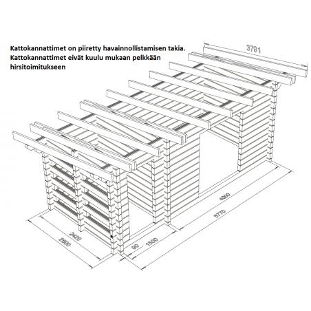 Varastoliiteri 15, hirsikehikko 90x195 - Kattokannattimet ja hirsikehikon rautalankamalli