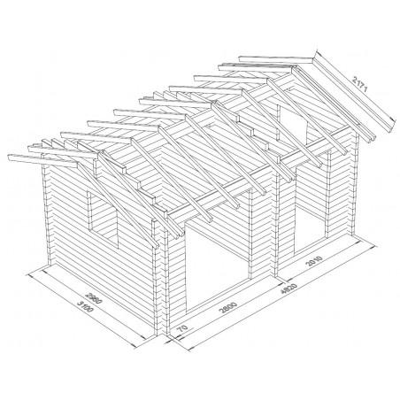Hirsikehikko parivarasto Harjaheikki 15 - 3D-Hirsikehikon-mallinnuskuva