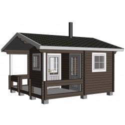 Hirsikehikko, Sauna Pilvi, 70 mm - Mallinnuskuva etuoikealta