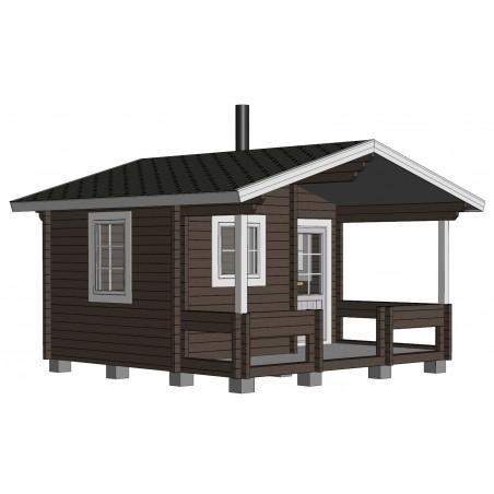 Hirsikehikko, Sauna Pilvi, 70 mm - Mallinnuskuva etuvasemmalta