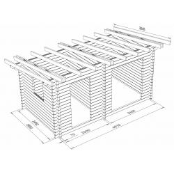 Hirsikehikko Parivarasto Veini 12, 70x145 - Hirsikehikko ja katon runko mallinnettuna