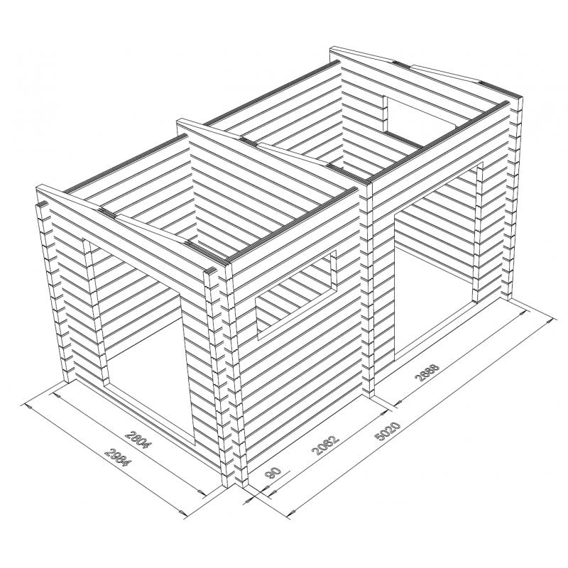 Hirsikehikko Parivarasto Maikkala 15 90x195 - 3D Hirsikehikko runkomalli