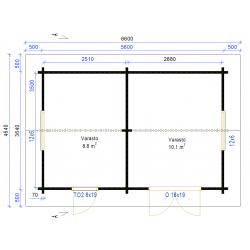 Harjaheikki 20 - Pohjakuva 70 mm hirsivahvuudella
