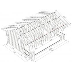 Parivarasto Atte 22, 90x195 - 3D Hirsikehikon runkomalli + katon runko