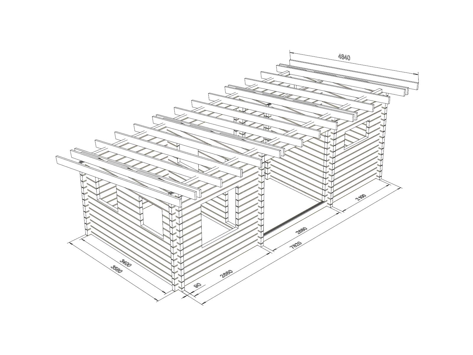 Ukko-Tilatupa 90x195 - Hirsikehikon runkomalli ja kattoniskat